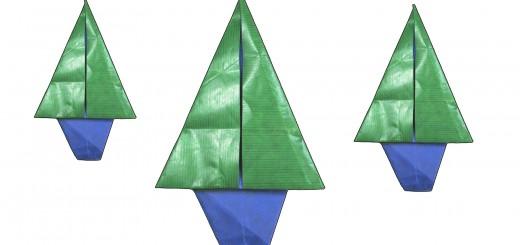Оригами коледно дърво